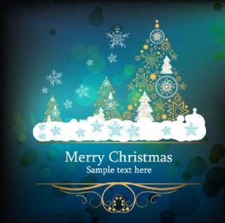圣誕樹雪花 圣誕節賀卡圖片